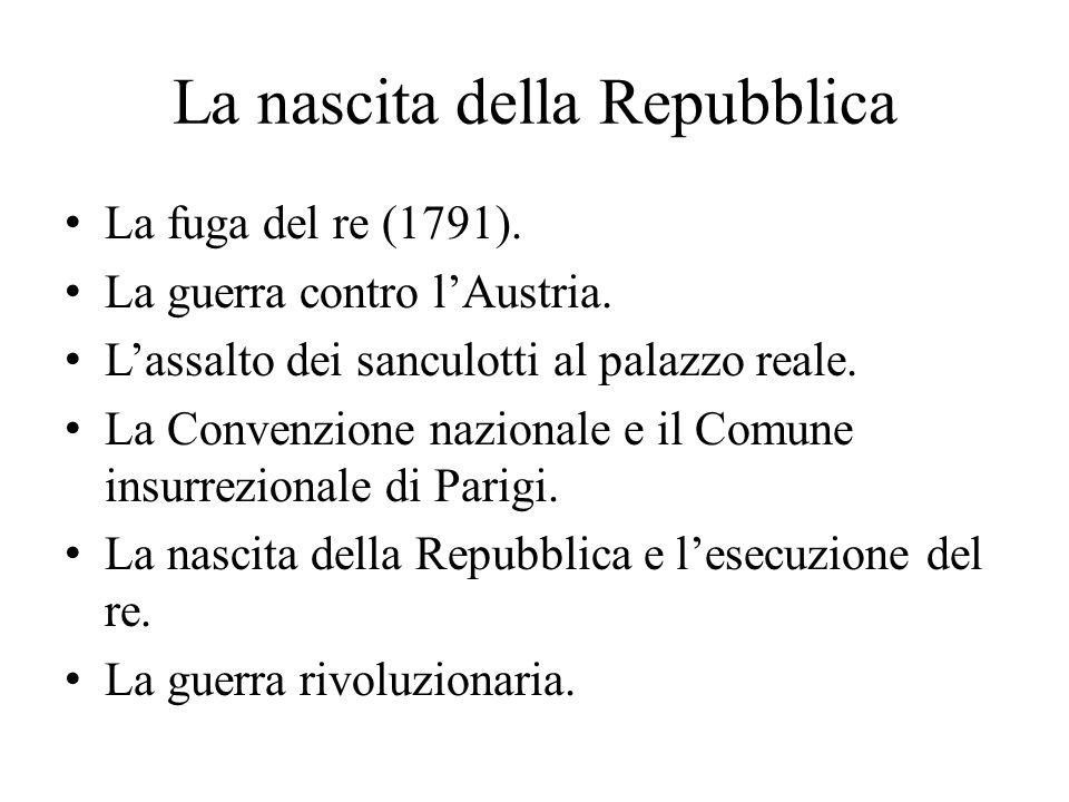 La nascita della Repubblica La fuga del re (1791).