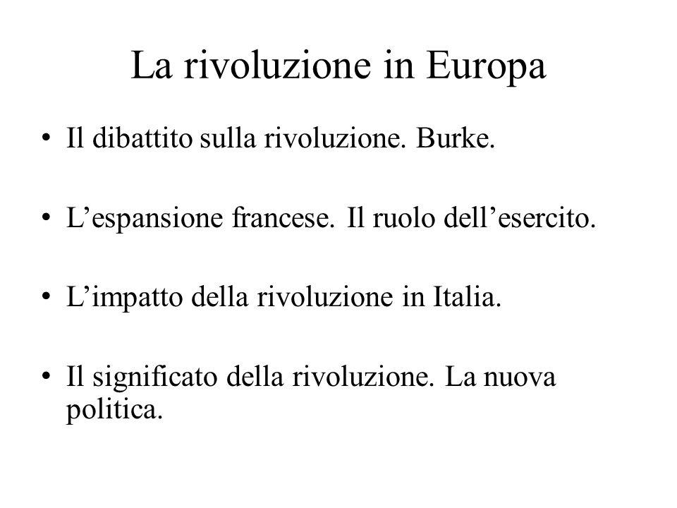 La rivoluzione in Europa Il dibattito sulla rivoluzione.