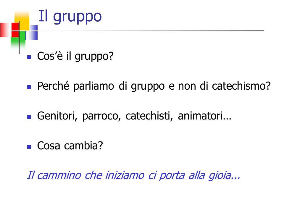Il gruppo Cos'è il gruppo. Perché parliamo di gruppo e non di catechismo.