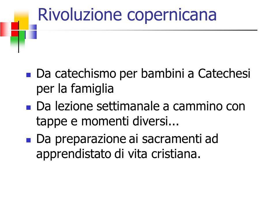 Rivoluzione copernicana Da catechismo per bambini a Catechesi per la famiglia Da lezione settimanale a cammino con tappe e momenti diversi... Da prepa