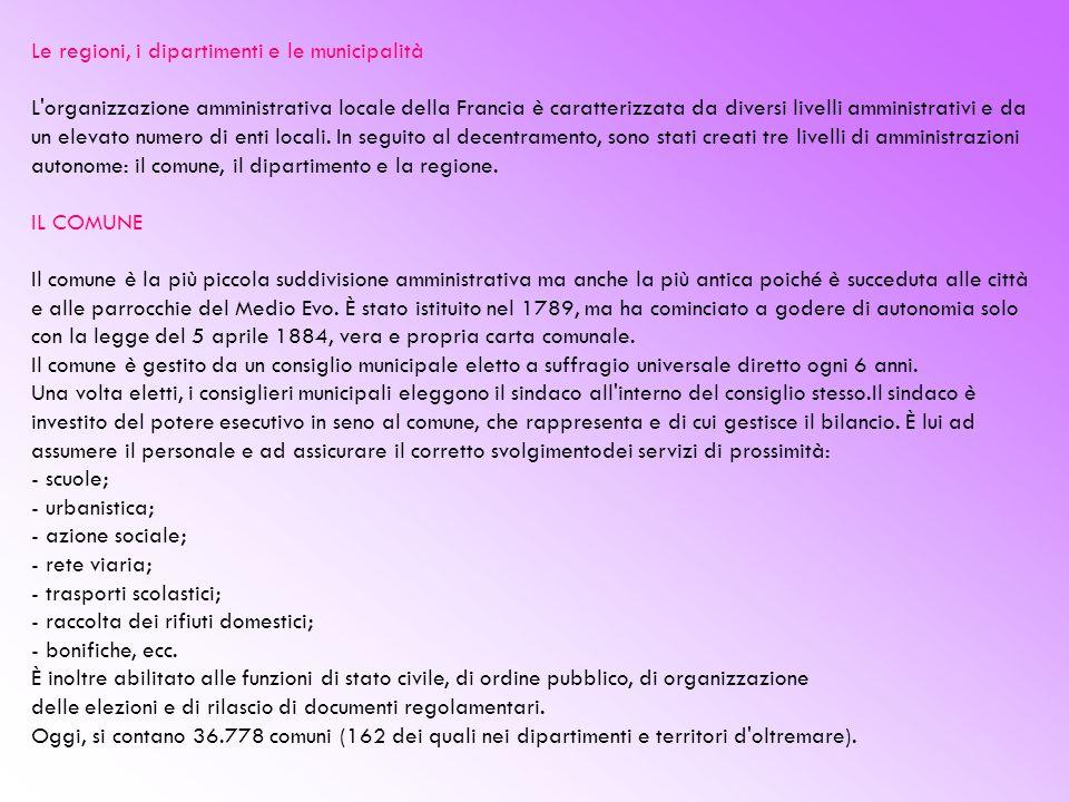 Le regioni, i dipartimenti e le municipalità L organizzazione amministrativa locale della Francia è caratterizzata da diversi livelli amministrativi e da un elevato numero di enti locali.