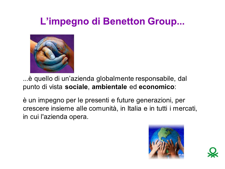 L'impegno di Benetton Group......è quello di un'azienda globalmente responsabile, dal punto di vista sociale, ambientale ed economico: è un impegno per le presenti e future generazioni, per crescere insieme alle comunità, in Italia e in tutti i mercati, in cui l azienda opera.