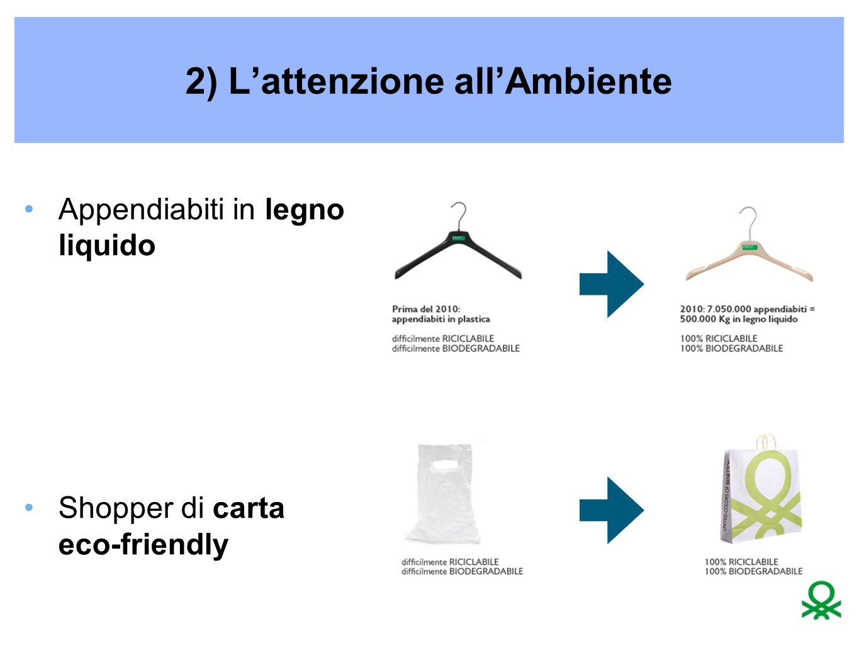 2) L'attenzione all'Ambiente Appendiabiti in legno liquido Shopper di carta eco-friendly