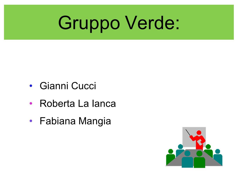 Gruppo Verde: Gianni Cucci Roberta La Ianca Fabiana Mangia