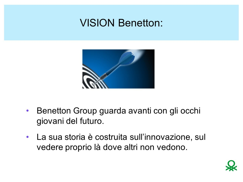 MISSION: Colori Uniti di Benetton Riuscire ad essere sempre all'avanguardia puntando su : colore rivoluzione del punto vendita rete produttiva network commerciale comunicazione universale Benetton è global prima della globalizzazione.