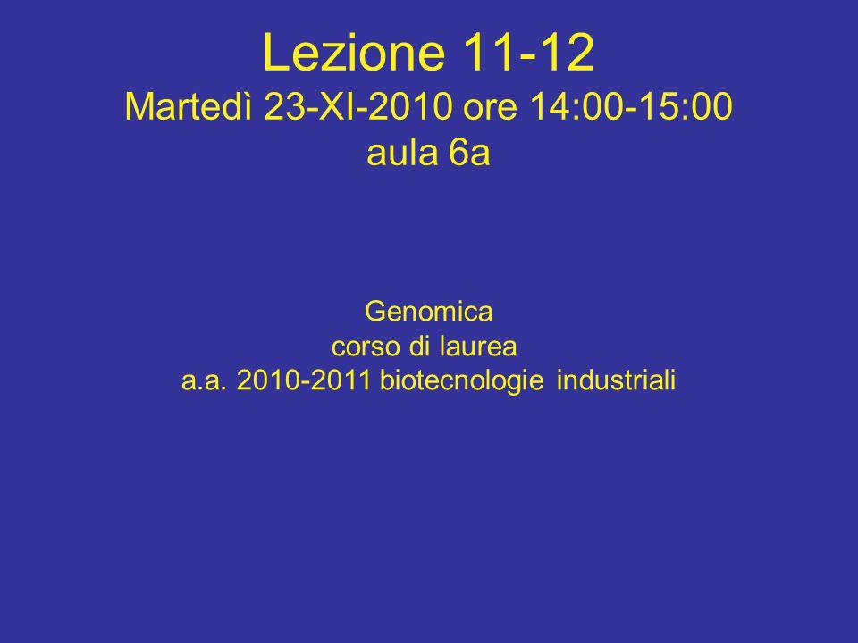 Lezione 11-12 Martedì 23-XI-2010 ore 14:00-15:00 aula 6a Genomica corso di laurea a.a.