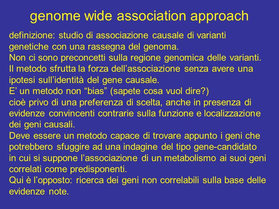 genome wide association approach definizione: studio di associazione causale di varianti genetiche con una rassegna del genoma.