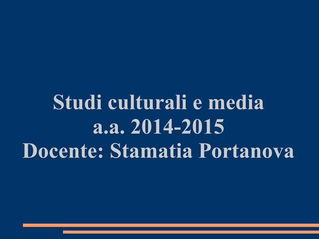 Studi culturali e media a.a. 2014-2015 Docente: Stamatia Portanova