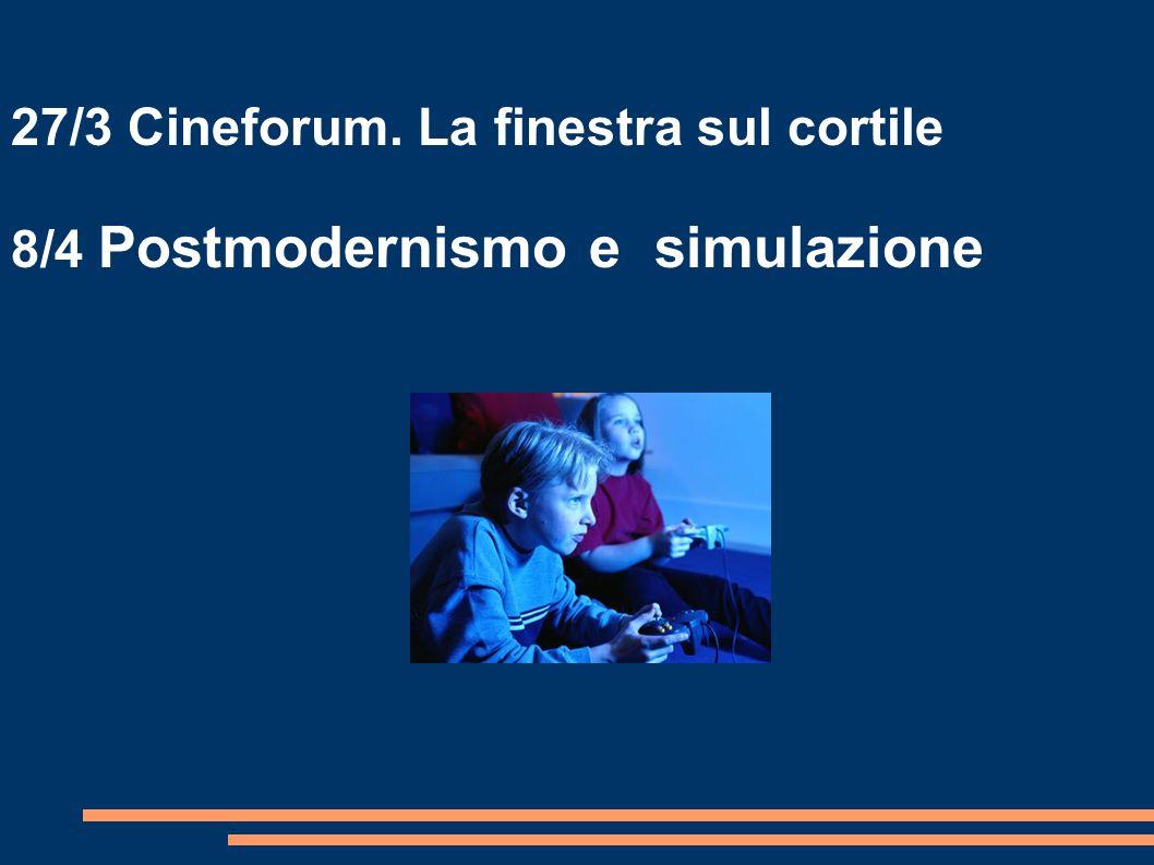 27/3 Cineforum. La finestra sul cortile 8/4 Postmodernismo e simulazione
