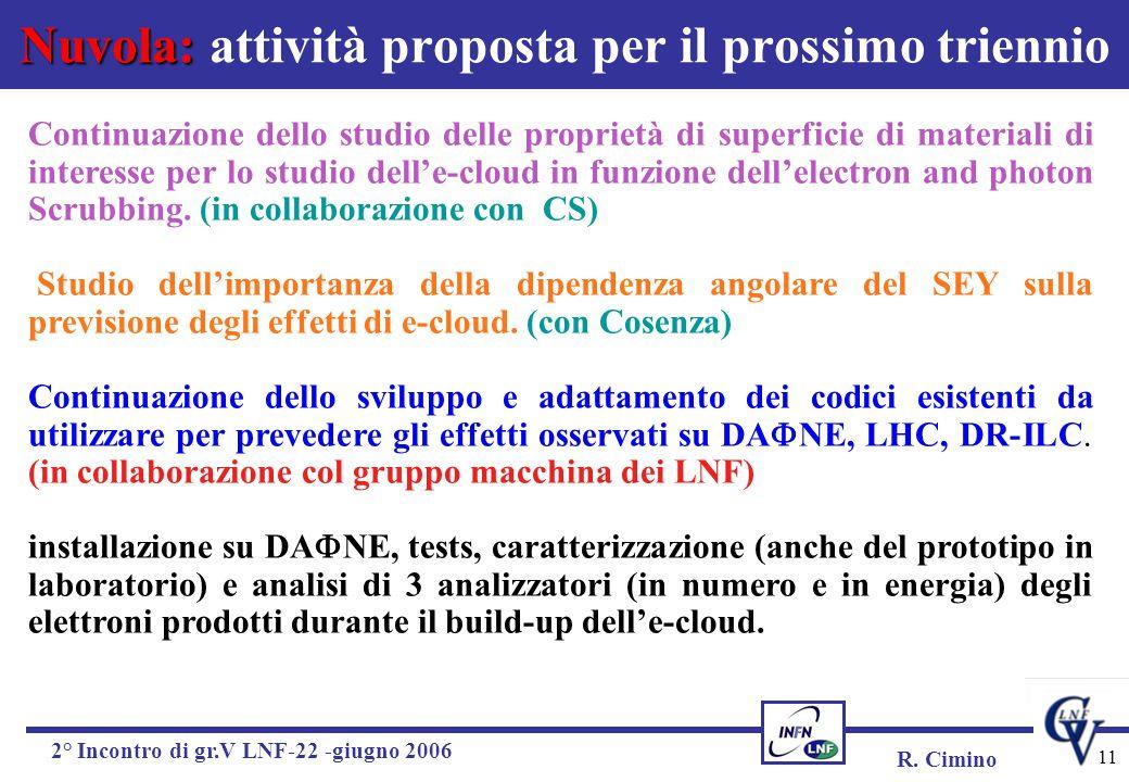 R. Cimino 2° Incontro di gr.V LNF-22 -giugno 2006 11 Nuvola: Nuvola: attività proposta per il prossimo triennio Continuazione dello studio delle propr