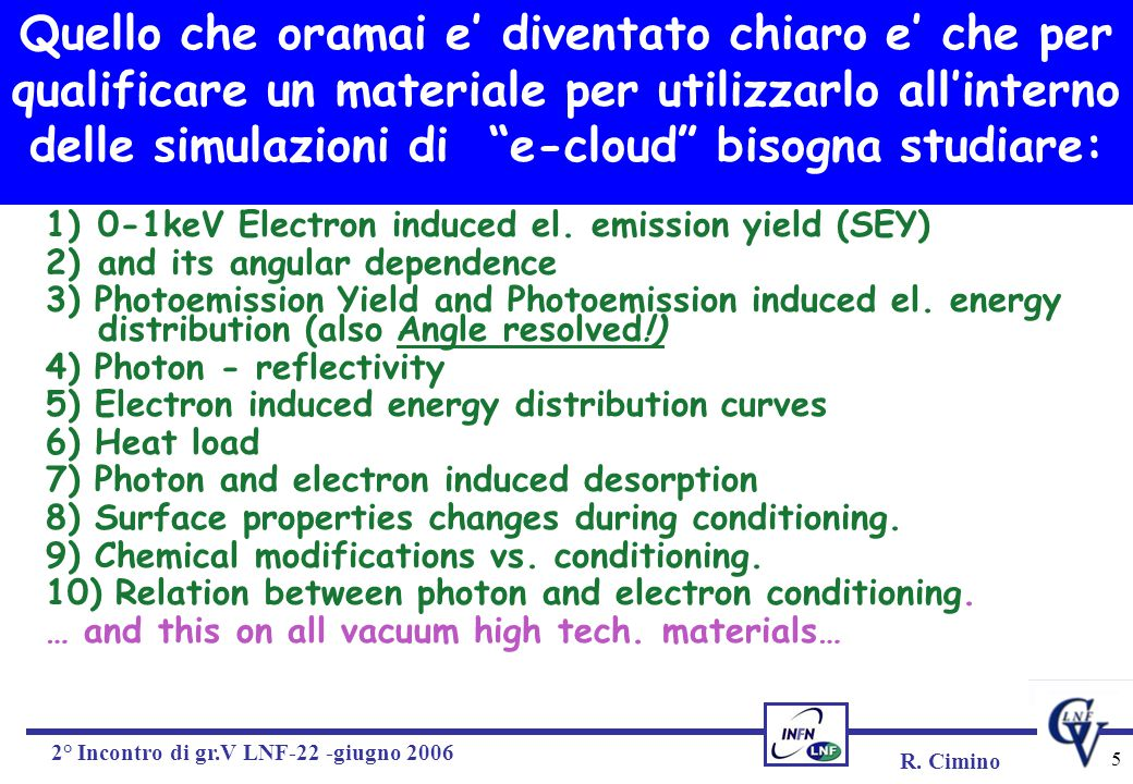 R. Cimino 2° Incontro di gr.V LNF-22 -giugno 2006 5 1)0-1keV Electron induced el. emission yield (SEY) 2)and its angular dependence 3) Photoemission Y
