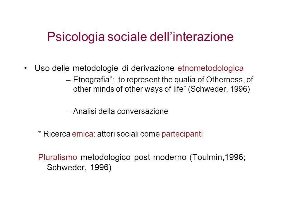 """Psicologia sociale dell'interazione Uso delle metodologie di derivazione etnometodologica –Etnografia"""": to represent the qualia of Otherness, of other"""