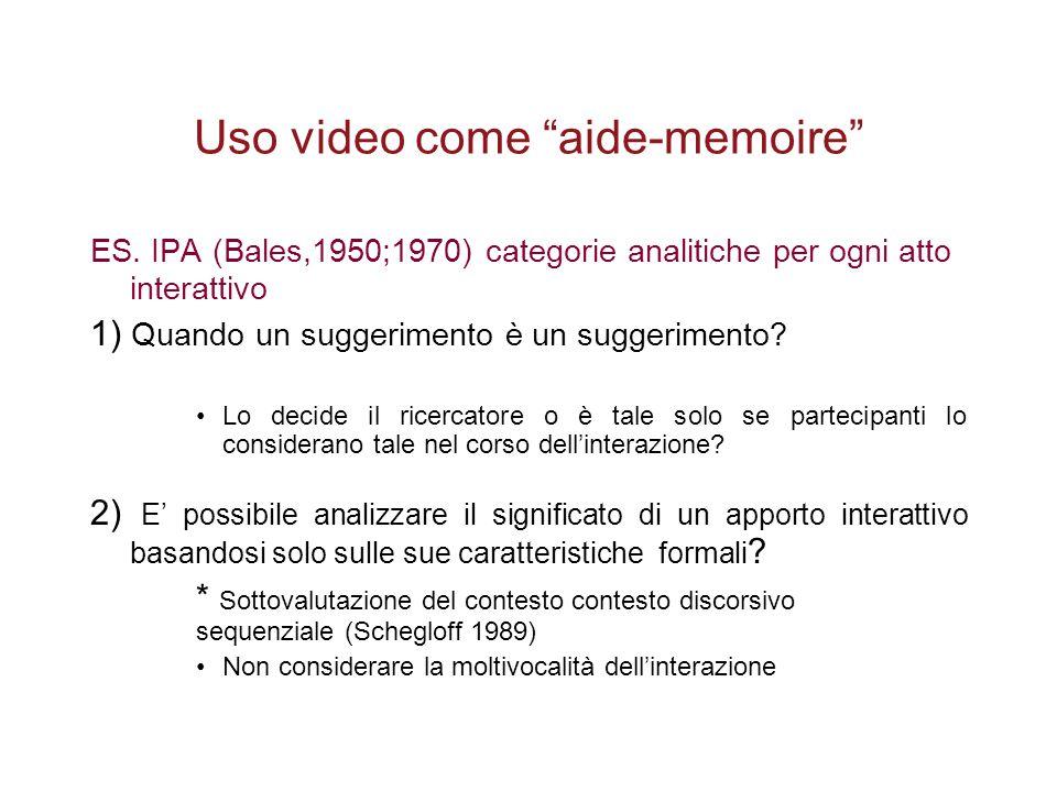 """Uso video come """"aide-memoire"""" ES. IPA (Bales,1950;1970) categorie analitiche per ogni atto interattivo 1) Quando un suggerimento è un suggerimento? Lo"""