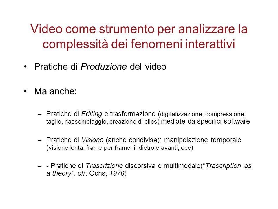 Video come strumento per analizzare la complessità dei fenomeni interattivi Pratiche di Produzione del video Ma anche: –Pratiche di Editing e trasform
