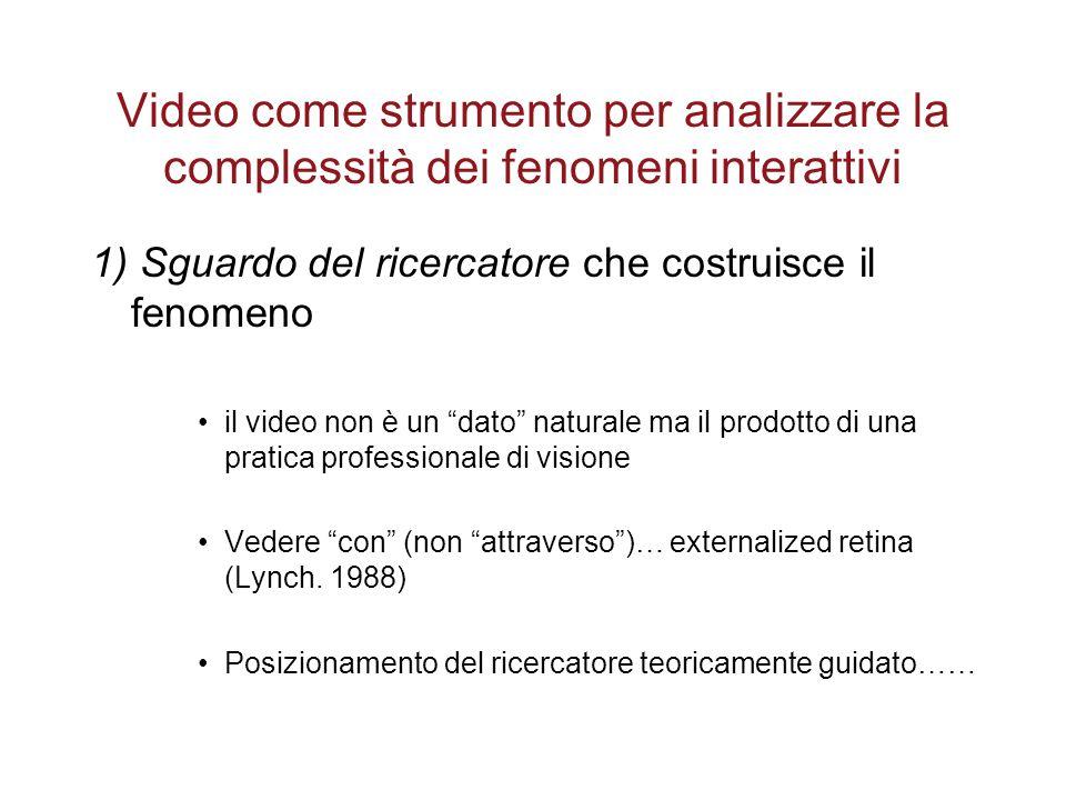 """Video come strumento per analizzare la complessità dei fenomeni interattivi 1) Sguardo del ricercatore che costruisce il fenomeno il video non è un """"d"""