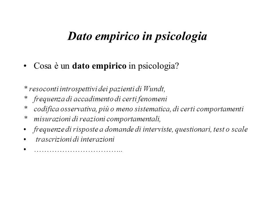 Dato empirico in psicologia Cosa è un dato empirico in psicologia? * resoconti introspettivi dei pazienti di Wundt, * frequenza di accadimento di cert