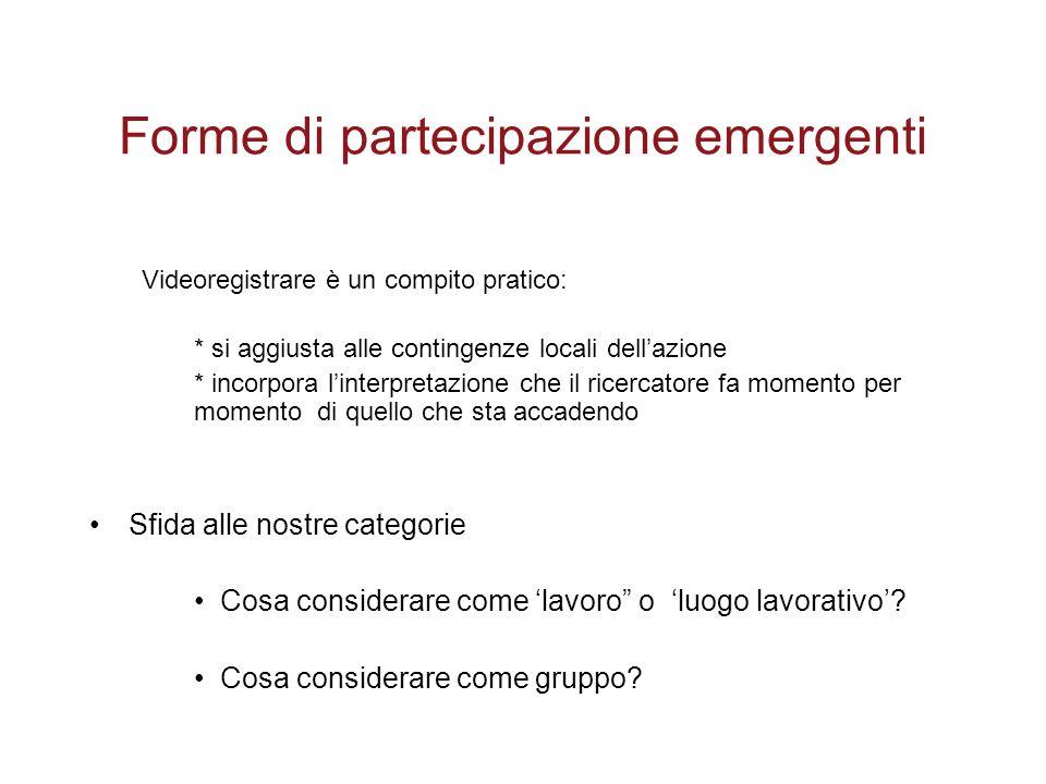 Forme di partecipazione emergenti Videoregistrare è un compito pratico: * si aggiusta alle contingenze locali dell'azione * incorpora l'interpretazion