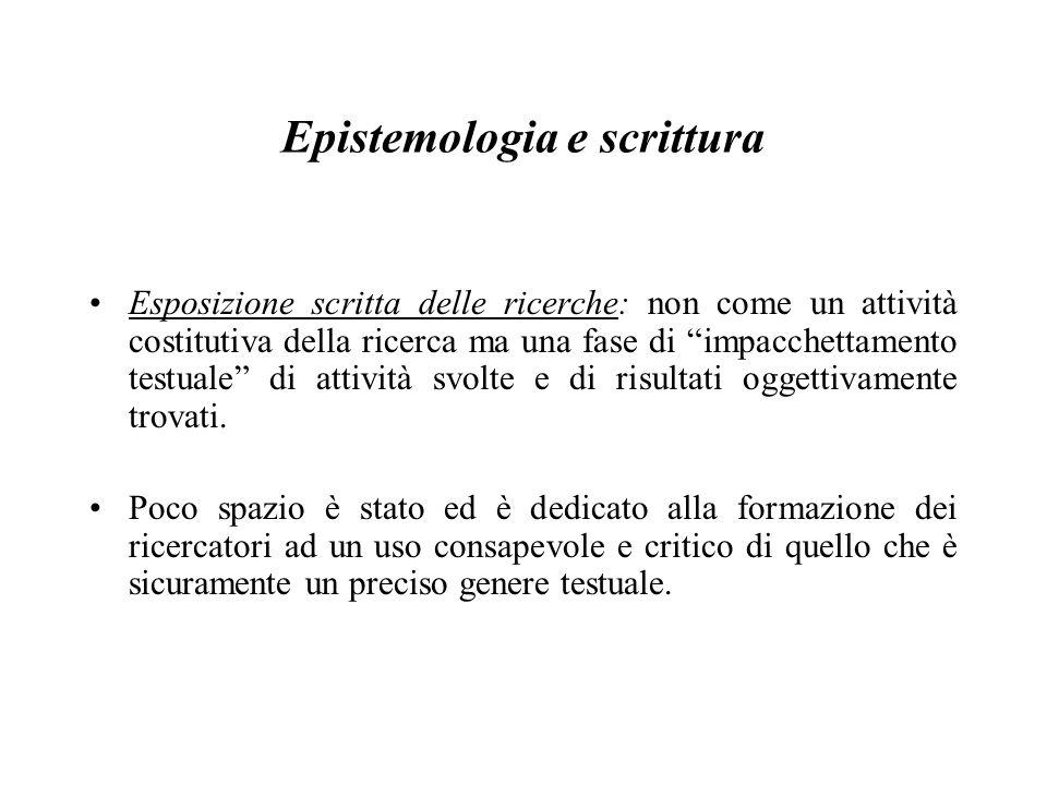 Epistemologia e scrittura Esposizione scritta delle ricerche: non come un attività costitutiva della ricerca ma una fase di impacchettamento testuale di attività svolte e di risultati oggettivamente trovati.