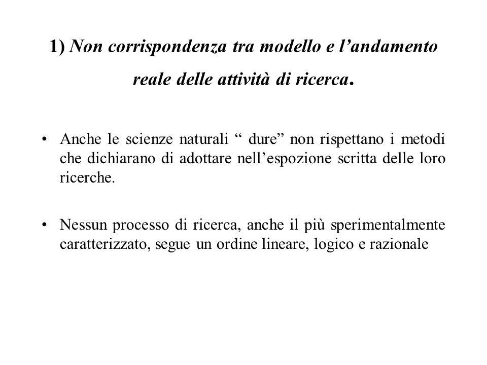 """1) Non corrispondenza tra modello e l'andamento reale delle attività di ricerca. Anche le scienze naturali """" dure"""" non rispettano i metodi che dichiar"""