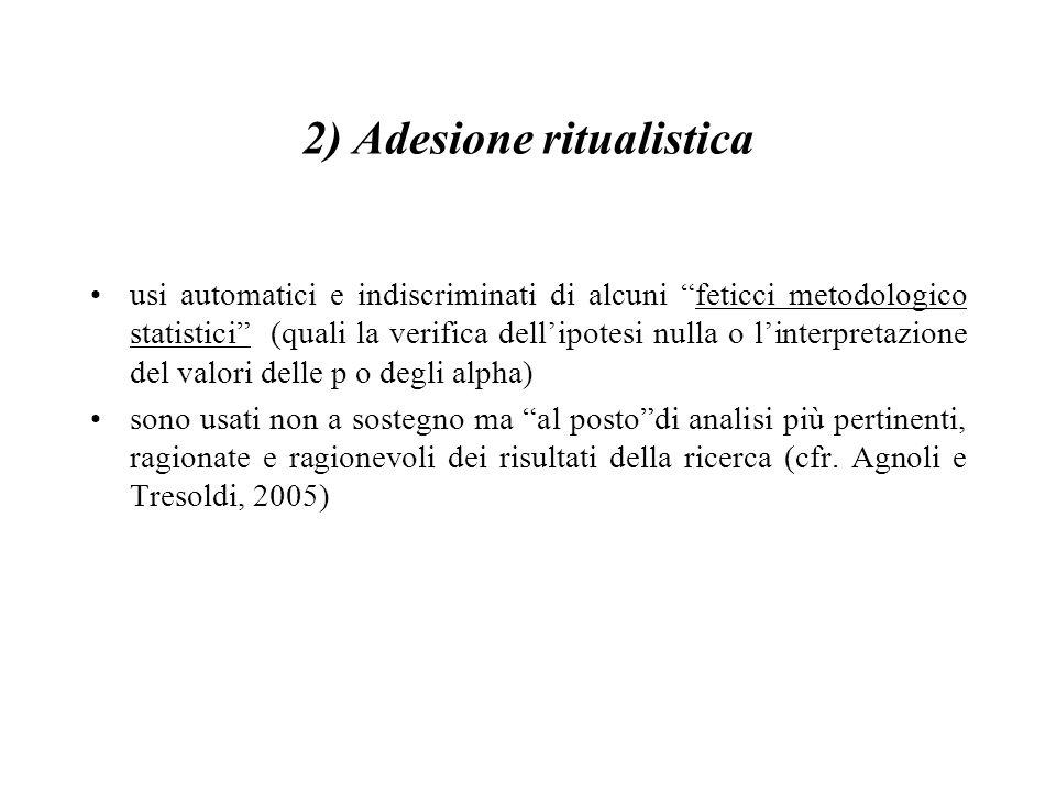 """2) Adesione ritualistica usi automatici e indiscriminati di alcuni """"feticci metodologico statistici"""" (quali la verifica dell'ipotesi nulla o l'interpr"""