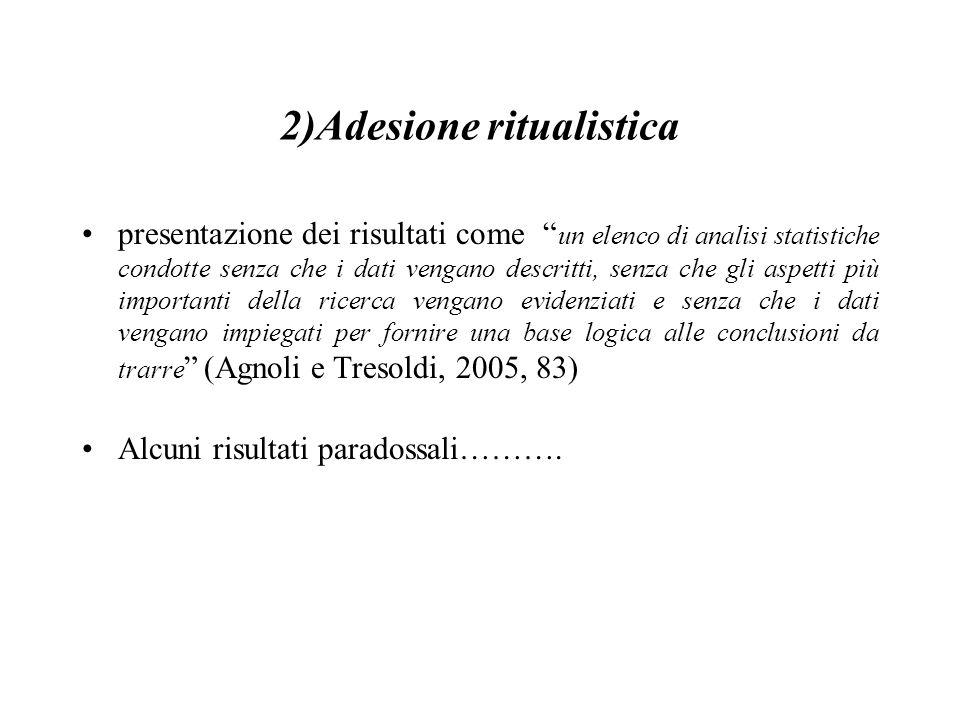 """2)Adesione ritualistica presentazione dei risultati come """" un elenco di analisi statistiche condotte senza che i dati vengano descritti, senza che gli"""
