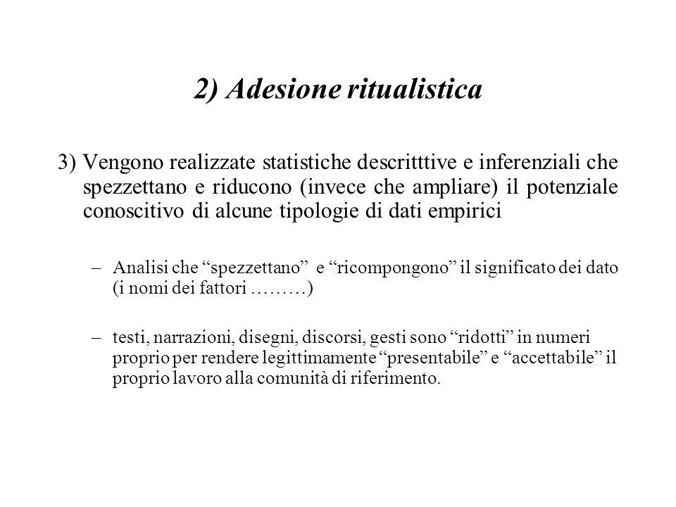 2) Adesione ritualistica 3) Vengono realizzate statistiche descritttive e inferenziali che spezzettano e riducono (invece che ampliare) il potenziale
