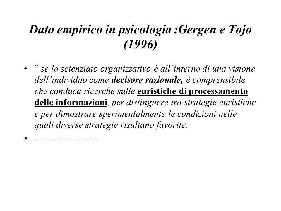 """Dato empirico in psicologia :Gergen e Tojo (1996) """" se lo scienziato organizzativo è all'interno di una visione dell'individuo come decisore razionale"""