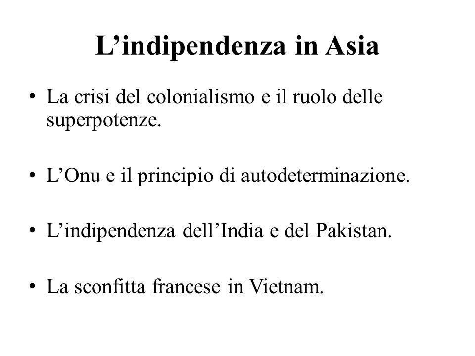 L'indipendenza in Asia La crisi del colonialismo e il ruolo delle superpotenze.