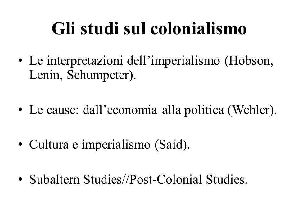 Gli studi sul colonialismo Le interpretazioni dell'imperialismo (Hobson, Lenin, Schumpeter).