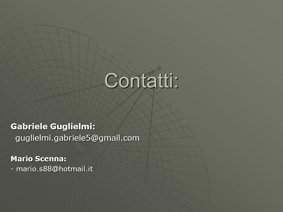 Contatti: Gabriele Guglielmi: - guglielmi.gabriele5@gmail.com Mario Scenna: - mario.s88@hotmail.it
