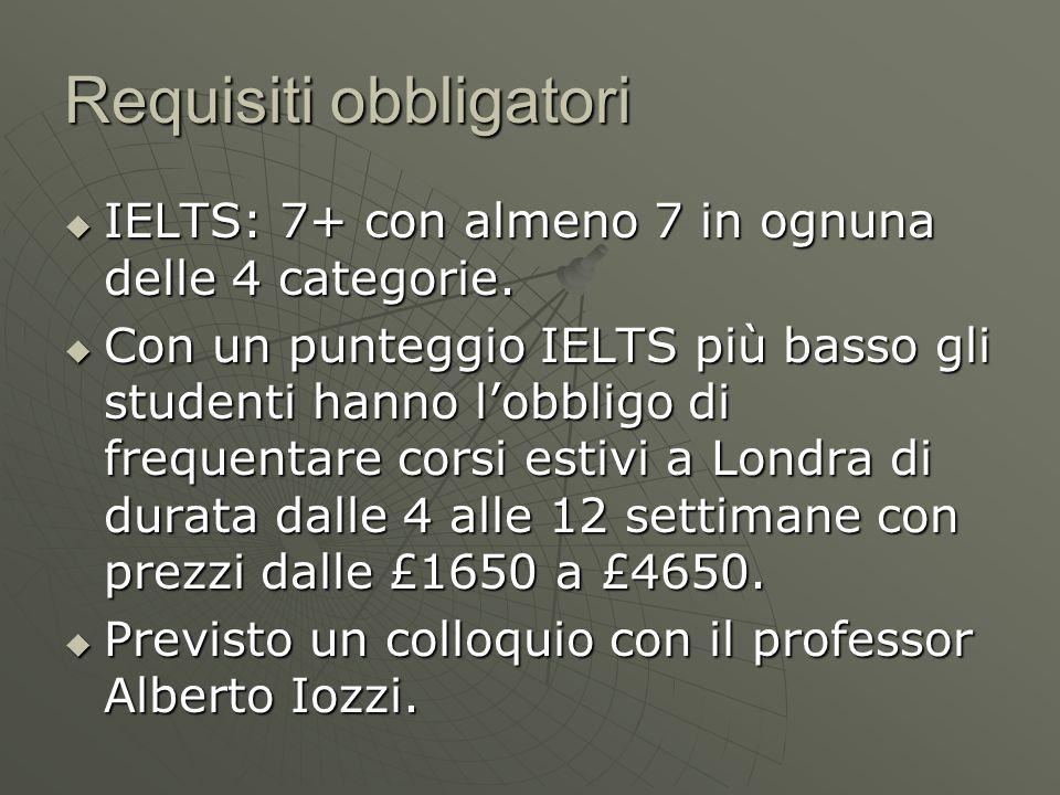 Requisiti obbligatori  IELTS: 7+ con almeno 7 in ognuna delle 4 categorie.  Con un punteggio IELTS più basso gli studenti hanno l'obbligo di frequen