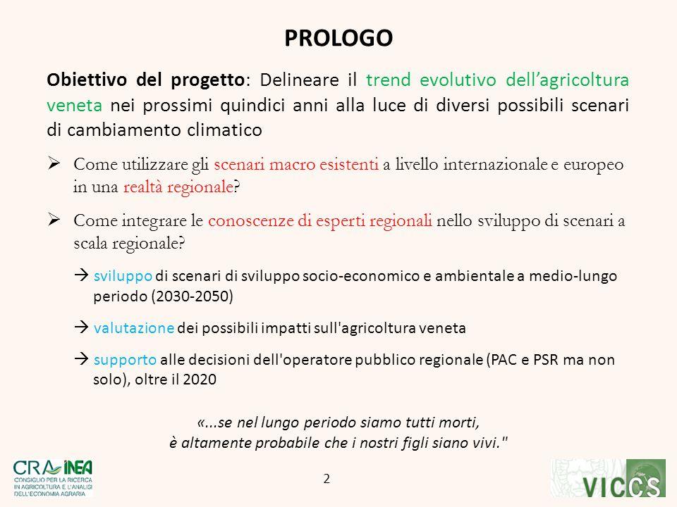 Obiettivo del progetto: Delineare il trend evolutivo dell'agricoltura veneta nei prossimi quindici anni alla luce di diversi possibili scenari di camb