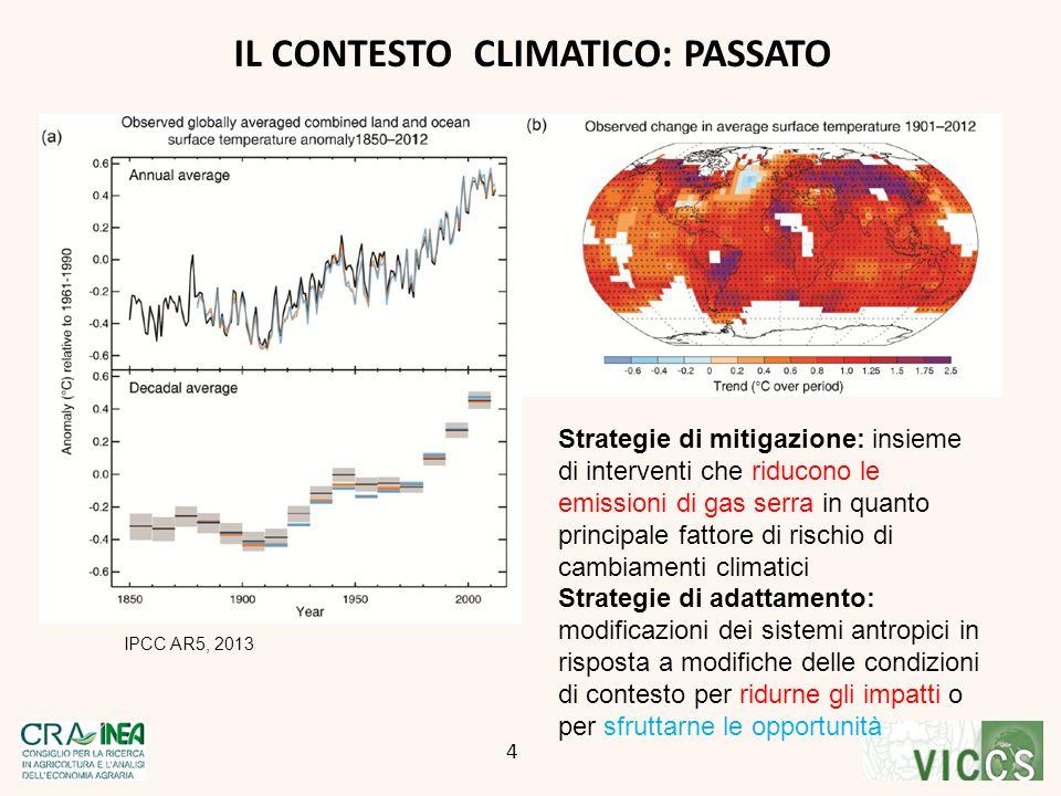 IL CONTESTO CLIMATICO: PASSATO IPCC AR5, 2013 CG 4 4 Strategie di mitigazione: insieme di interventi che riducono le emissioni di gas serra in quanto