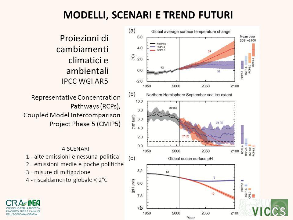 MODELLI, SCENARI E TREND FUTURI Proiezioni di cambiamenti climatici e ambientali IPCC WGI AR5 CG 5 Representative Concentration Pathways (RCPs), Coupl