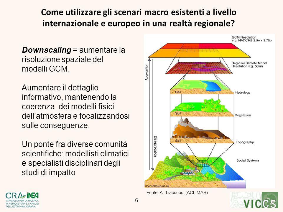 Downscaling = aumentare la risoluzione spaziale del modelli GCM. Aumentare il dettaglio informativo, mantenendo la coerenza dei modelli fisici dell'at