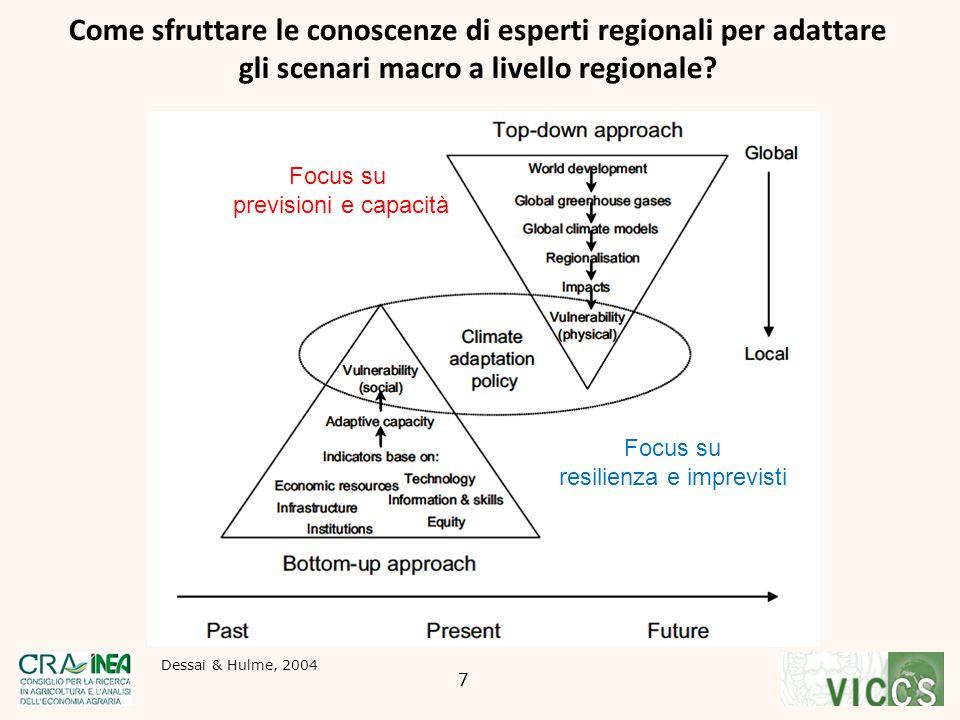 Come sfruttare le conoscenze di esperti regionali per adattare gli scenari macro a livello regionale? Dessai & Hulme, 2004 Focus su previsioni e capac