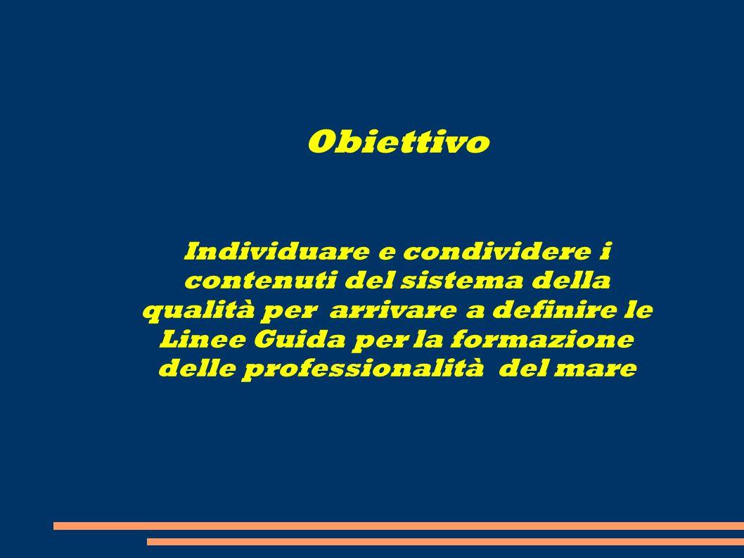Obiettivo Individuare e condividere i contenuti del sistema della qualità per arrivare a definire le Linee Guida per la formazione delle professionali
