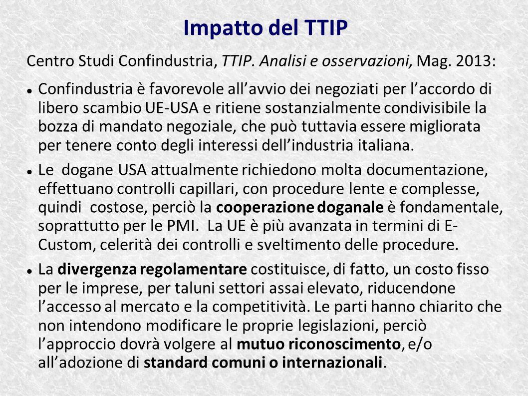 Centro Studi Confindustria, TTIP. Analisi e osservazioni, Mag. 2013: Confindustria è favorevole all'avvio dei negoziati per l'accordo di libero scambi