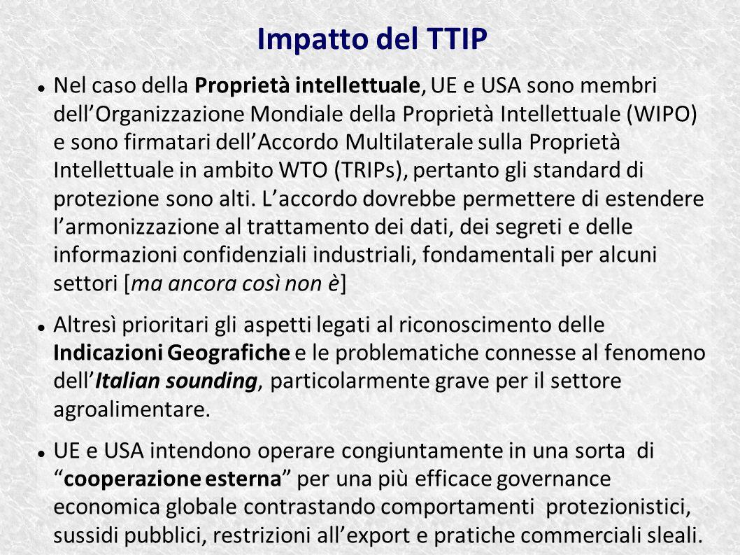 Nel caso della Proprietà intellettuale, UE e USA sono membri dell'Organizzazione Mondiale della Proprietà Intellettuale (WIPO) e sono firmatari dell'A
