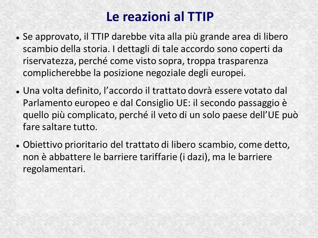 Se approvato, il TTIP darebbe vita alla più grande area di libero scambio della storia. I dettagli di tale accordo sono coperti da riservatezza, perch