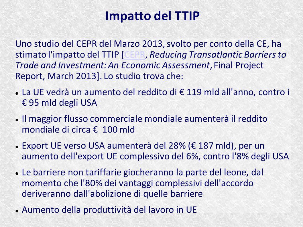 Uno studio del CEPR del Marzo 2013, svolto per conto della CE, ha stimato l'impatto del TTIP [CEPR, Reducing Transatlantic Barriers to Trade and Inves