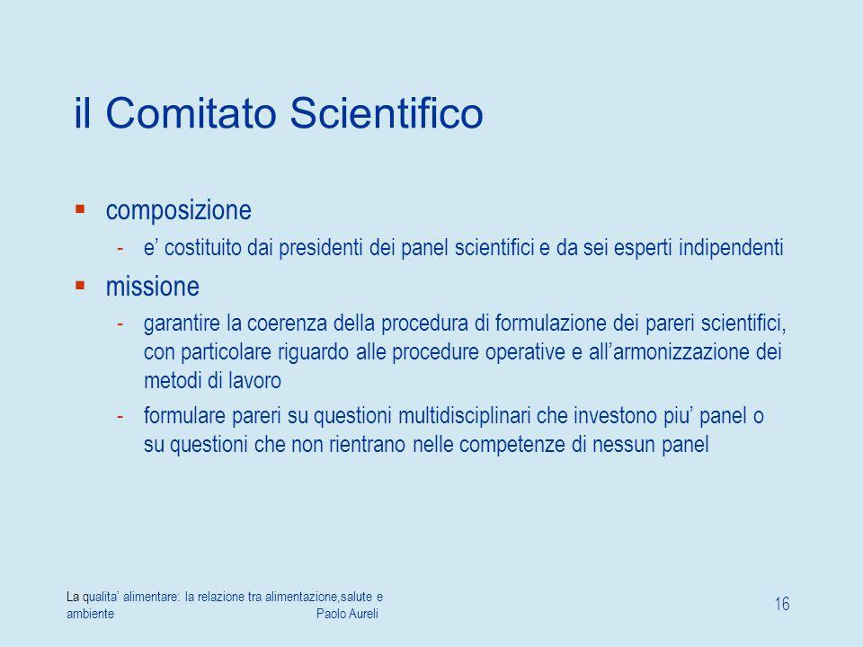 La qualita' alimentare: la relazione tra alimentazione,salute e ambiente Paolo Aureli 16 il Comitato Scientifico  composizione -e' costituito dai pre