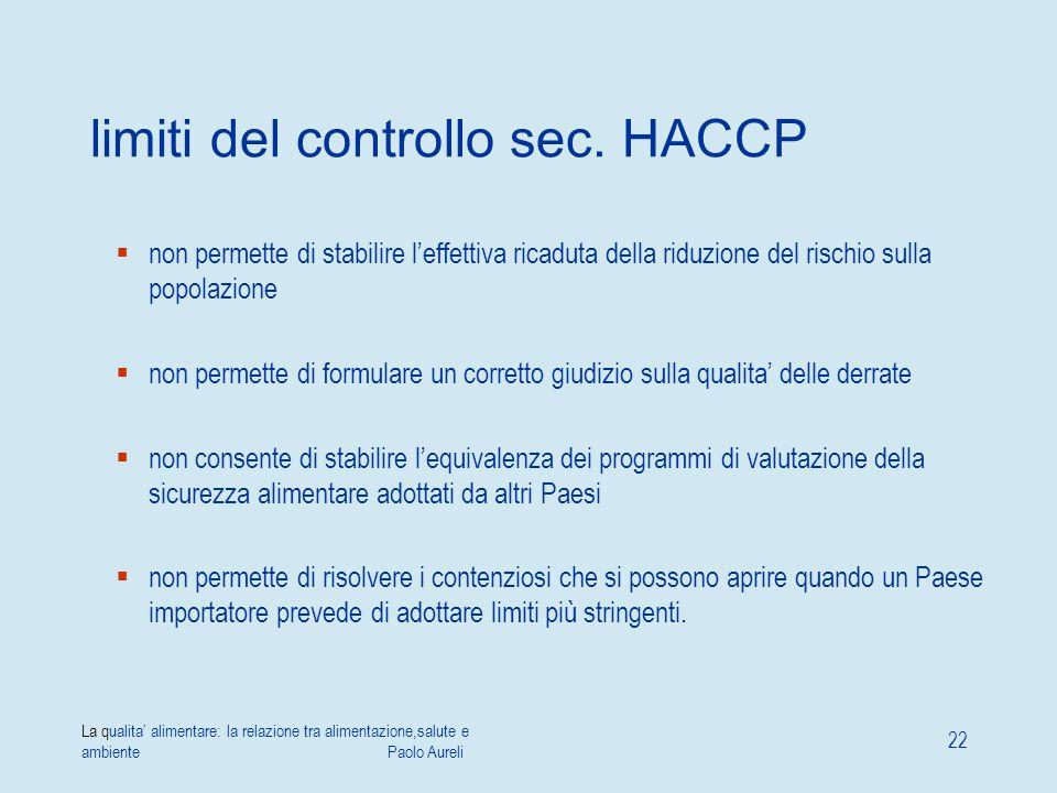 La qualita' alimentare: la relazione tra alimentazione,salute e ambiente Paolo Aureli 22 limiti del controllo sec. HACCP  non permette di stabilire l