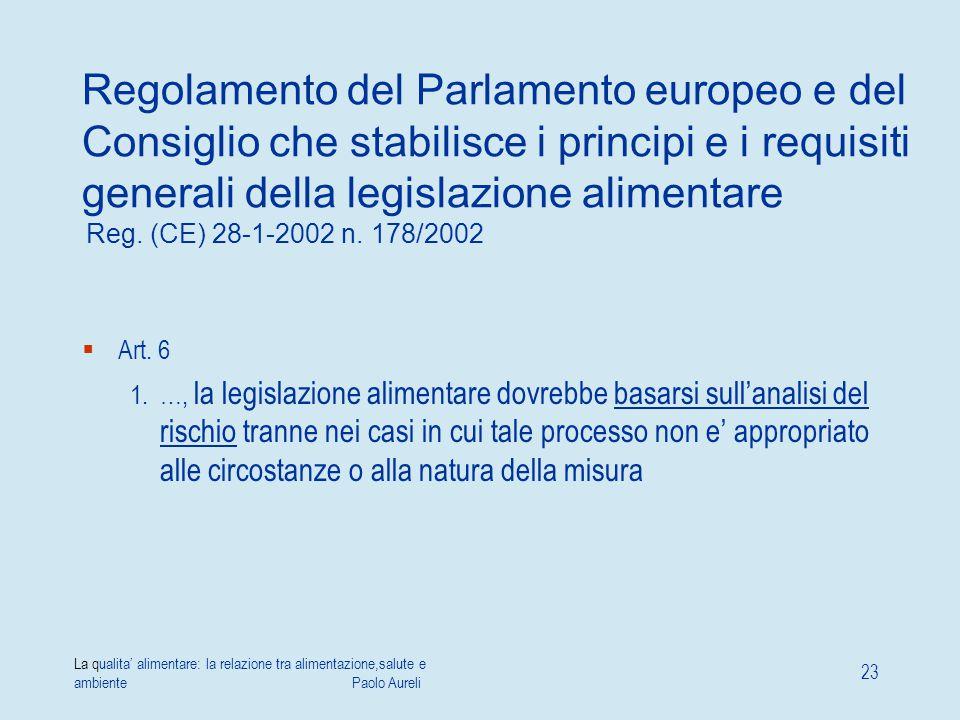 La qualita' alimentare: la relazione tra alimentazione,salute e ambiente Paolo Aureli 23 Regolamento del Parlamento europeo e del Consiglio che stabil