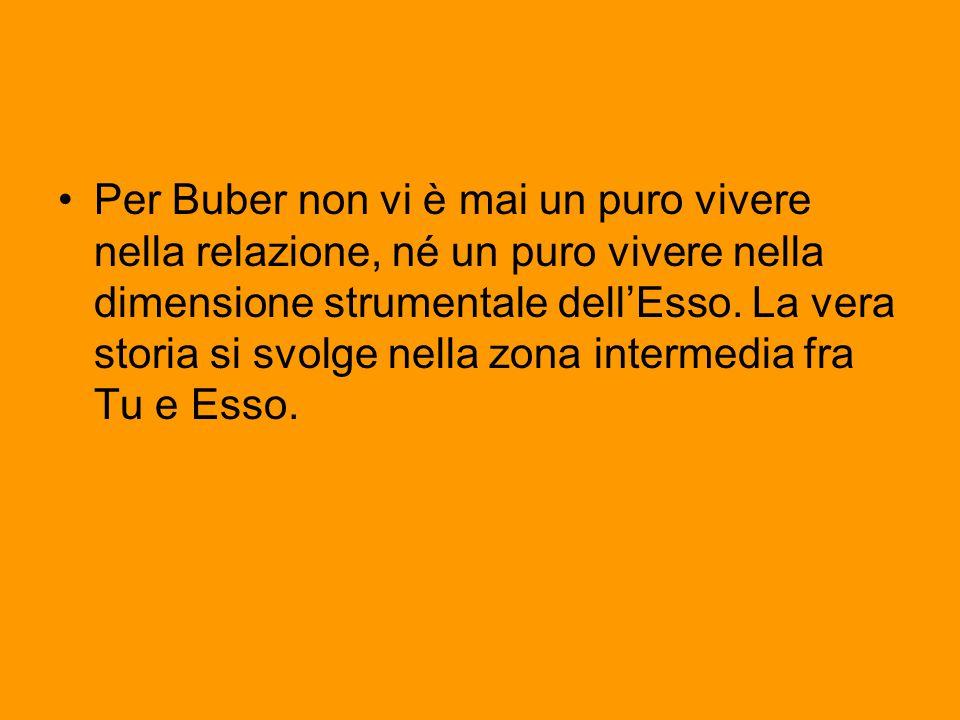 Per Buber non vi è mai un puro vivere nella relazione, né un puro vivere nella dimensione strumentale dell'Esso. La vera storia si svolge nella zona i