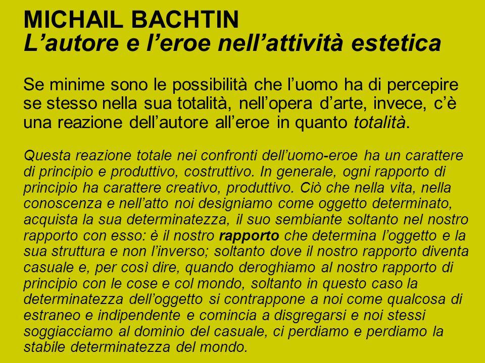MICHAIL BACHTIN L'autore e l'eroe nell'attività estetica Se minime sono le possibilità che l'uomo ha di percepire se stesso nella sua totalità, nell'o
