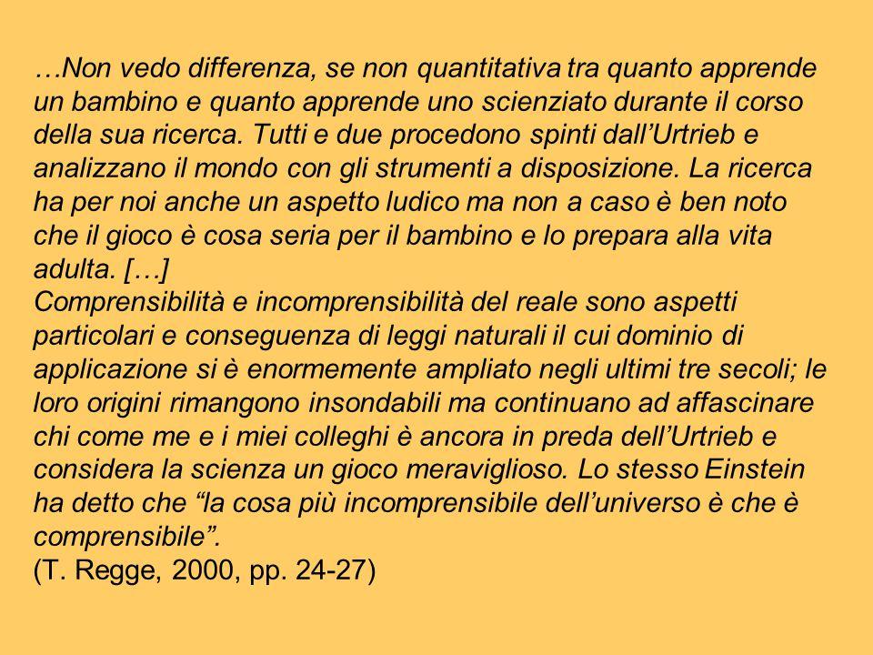 …Non vedo differenza, se non quantitativa tra quanto apprende un bambino e quanto apprende uno scienziato durante il corso della sua ricerca. Tutti e