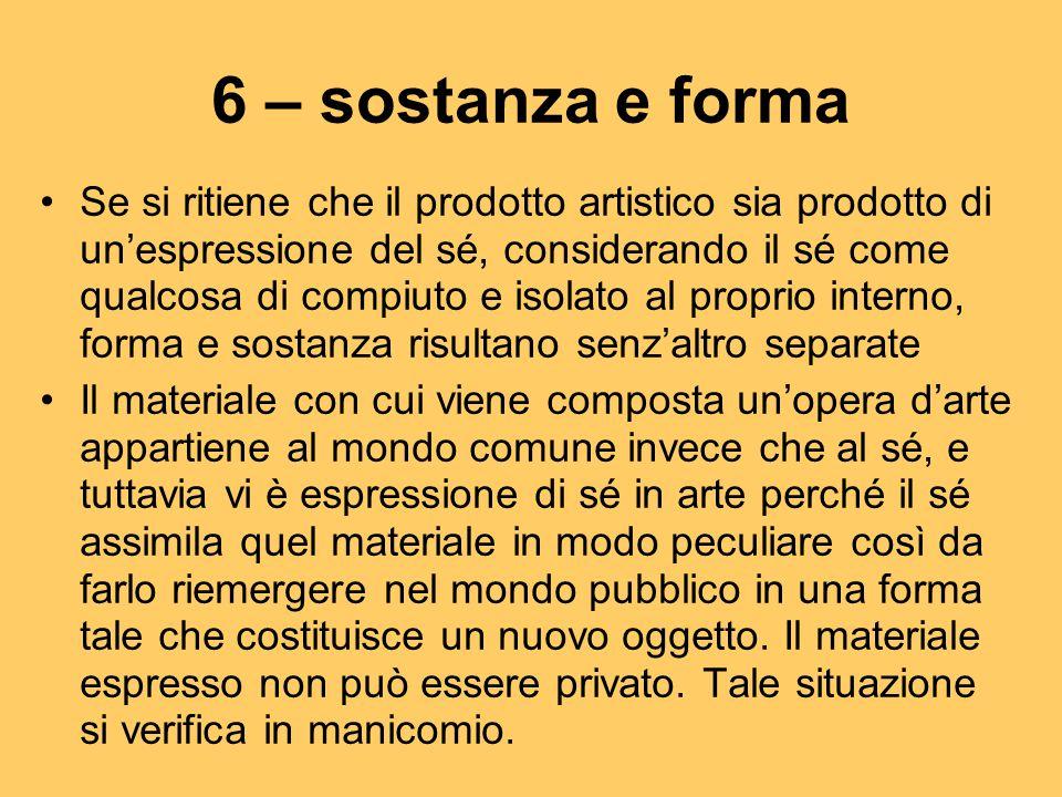 6 – sostanza e forma Se si ritiene che il prodotto artistico sia prodotto di un'espressione del sé, considerando il sé come qualcosa di compiuto e iso