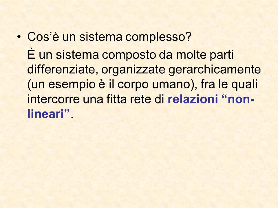 Cos'è un sistema complesso? È un sistema composto da molte parti differenziate, organizzate gerarchicamente (un esempio è il corpo umano), fra le qual