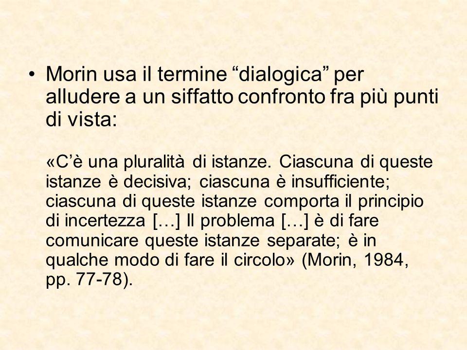"""Morin usa il termine """"dialogica"""" per alludere a un siffatto confronto fra più punti di vista: «C'è una pluralità di istanze. Ciascuna di queste istanz"""